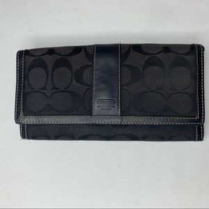 Coach Black Fabric Leather Checkbook Wallet Bag